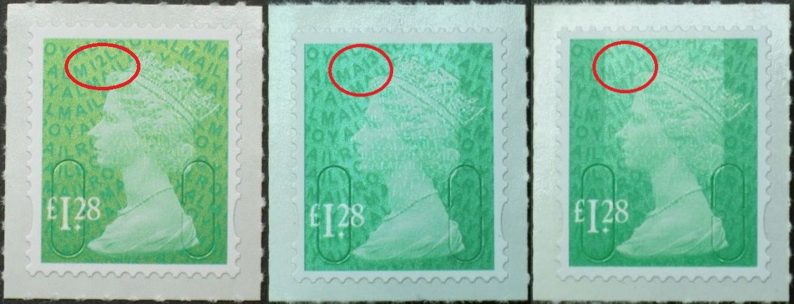 2012-14 GB - SGU2934 £1.28 Emerald Green (D) 2B Set of 3 MNH